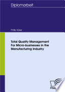 Total Quality Management For Micro businesses in the Manufacturing Industry Book