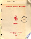 Cataloged Serial Holdings
