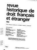 Revue historique de droit français et étranger