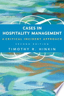 Cases in Hospitality Management  : A Critical Incident Approach