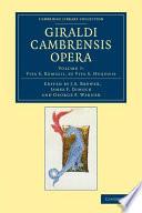 Giraldi Cambrensis Opera  Volume 7  Vita S  Remigii  Et Vita S  Hugonis