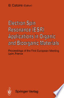 Electron Spin Resonance  ESR  Applications in Organic and Bioorganic Materials