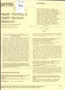 Health Planning   Health Services Research Book