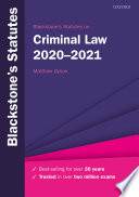 Cover of Blackstone's Statutes on Criminal Law 2020-2021