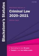 Blackstone s Statutes on Criminal Law 2020 2021