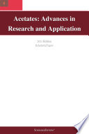 Acetates Advances In Research And Application 2011 Edition Book PDF