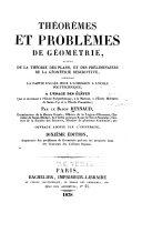 Théorémes et problémes de géométrie suivis de la théorie des plans, et des préliminaires de la géométrie descriptive