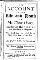 Pdf An account of the life and death of Ph. Henry ...