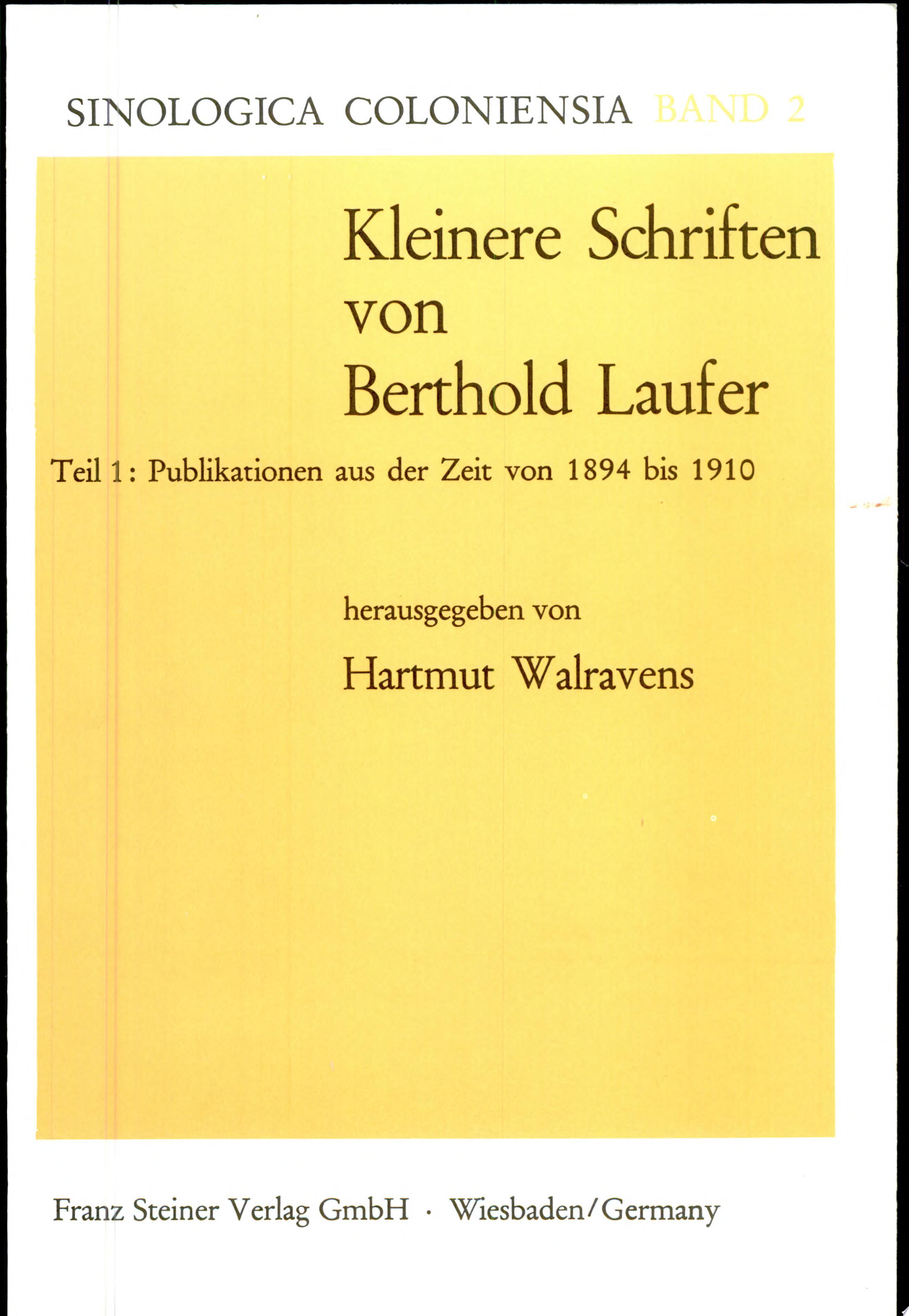 Kleinere Schriften  Publikationen aus der Zeit von 1894 bis 1910