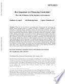 How important are financing constraints? : the role of finance in the business environment