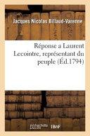 Réponse a Laurent Lecointre, Représentant Du Peuple ebook