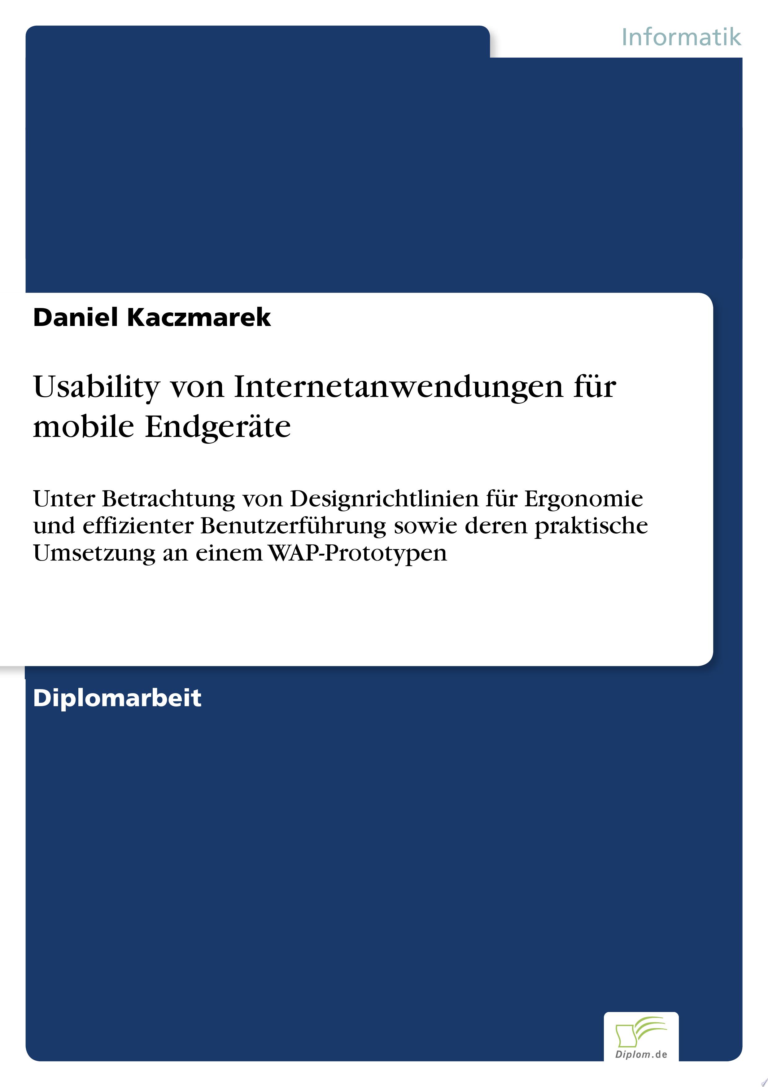 Usability von Internetanwendungen f  r mobile Endger  te