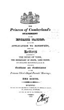 The Princess of Cumberland's Statement to the English Nation, as to Her Application to Ministers