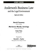 Anderson S Business Law And The Legal Environment Study Guide Book
