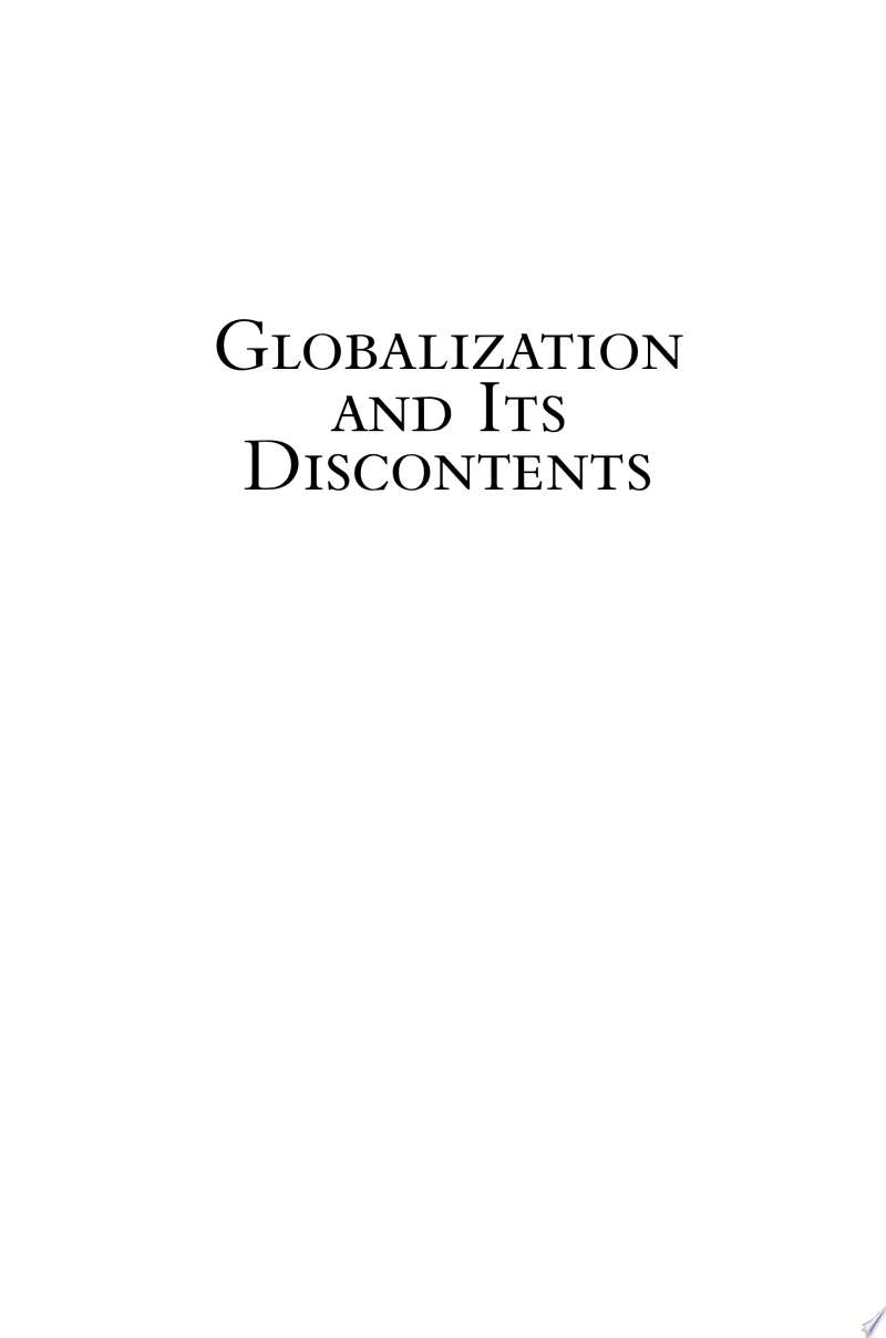 Globalization and Its Discontents banner backdrop
