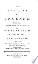 The History of England  from the Invasion of Julius Caesar to the Revolution of 1688
