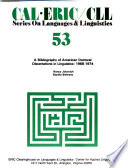 A Bibliography of American Doctoral Dissertations in Linguistics  1968 1974 Book