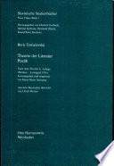 Theorie der Literatur, Poetik