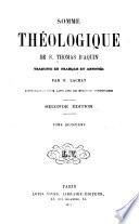 Somme théologique de S. Thomas D'Aquin