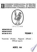 Memorias, International Congress of Pediatrics