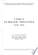 A Guide to Turkish Treaties (1920-1964)