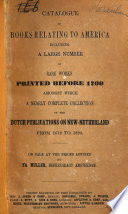 Catalogue Of Books Relating To America
