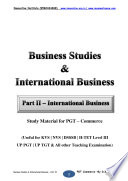 Business Studies   International Business Part II   International Business for PGT Commerce Examinations