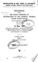 Investigation of Hon. Harry M. Daugherty, Formerly Attorney General of the United States