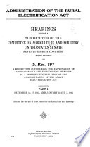 Administration of the Rural Electrification Act