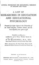 A List of Researches in Education and Educational Psychology Book