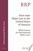 Inter State Water Law In The United States Of America