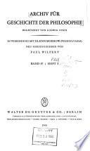 Archiv Für Geschichte Der Philosophie