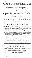Orfeo ed Euridice, Orpheus and Eurydice; an opera ... The poetry is from Signor Calzabigi, with additions by G. G. Bottarelli, etc. With an English translation by F. Bottarelli. Ital. & Eng. MS. note