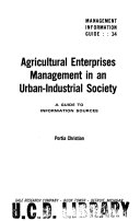 Agricultural Enterprises Management in an Urban industrial Society Book