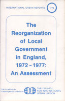The Reorganization of Local Government in England, 1972-1977 [Pdf/ePub] eBook