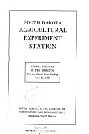 Annual Report of the Director of the South Dakota Agricultural Experiment Station