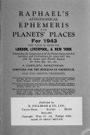 Raphael's Astronomical Ephemeris of the Planets' Places