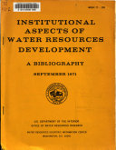 Institutional Aspects of Water Resources Development