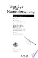 Beiträge zur Namenforschung