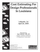 Cost Estimating For Design Professionals