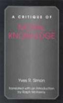 A Critique of Moral Knowledge