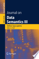 Journal On Data Semantics Iii Book PDF