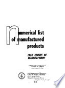 Numerical List Of Manufactures Products