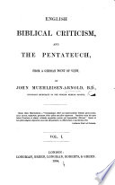 English Biblical Criticism And The Pentateuch