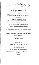 A catalogue of the     library of     James Perry     which will be sold by auction