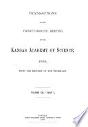 Transactions Of The Annual Meeting Of The Kansas Academy Of Science