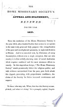 The Home Missionary Society's Appeal and Statement, Renewed for the Year 1837