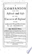 A Companion for the Festivals and Fasts of the Church of England     The fifteenth edition  The preface signed  Rob  Nelson