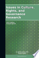 Issues In Culture Rights And Governance Research 2012 Edition