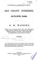 B  M  Watson s priced List of Stocks  select Fruit and Ornamental Trees  shrubs  climbers      and green house plants  for the autumn of 1852